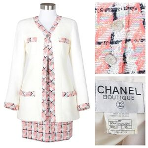 Vintage Women's Chanel Pink Skirt & Jacket Suit